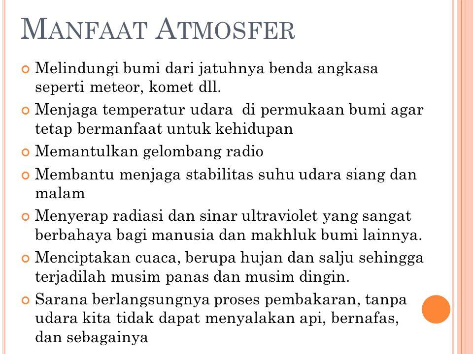 Manfaat Atmosfer Melindungi bumi dari jatuhnya benda angkasa seperti meteor, komet dll.