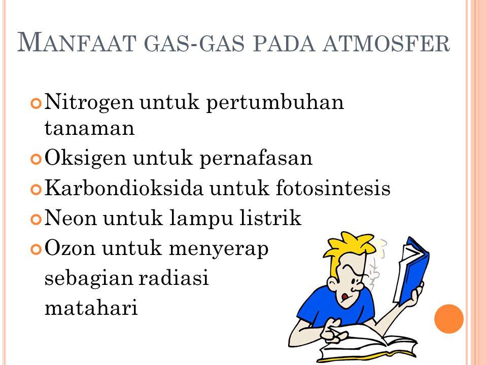 Manfaat gas-gas pada atmosfer