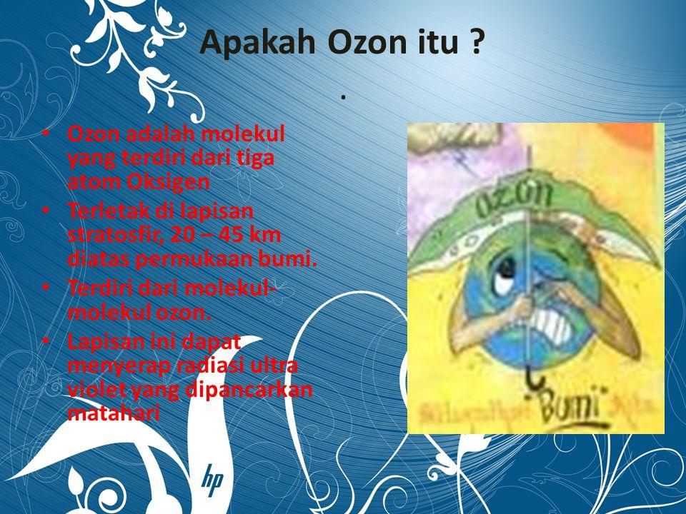 Apakah Ozon itu . Ozon adalah molekul yang terdiri dari tiga atom Oksigen. Terletak di lapisan stratosfir, 20 – 45 km diatas permukaan bumi.