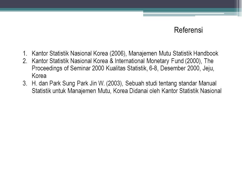 Referensi Kantor Statistik Nasional Korea (2006), Manajemen Mutu Statistik Handbook.