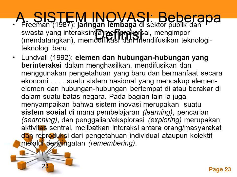 A. SISTEM INOVASI: Beberapa Definisi