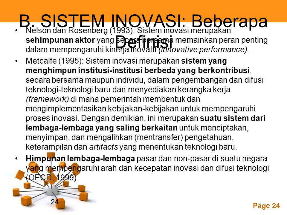 B. SISTEM INOVASI: Beberapa Definisi