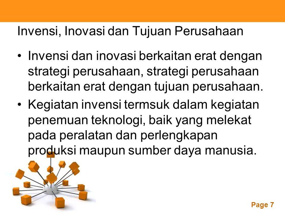 Invensi, Inovasi dan Tujuan Perusahaan