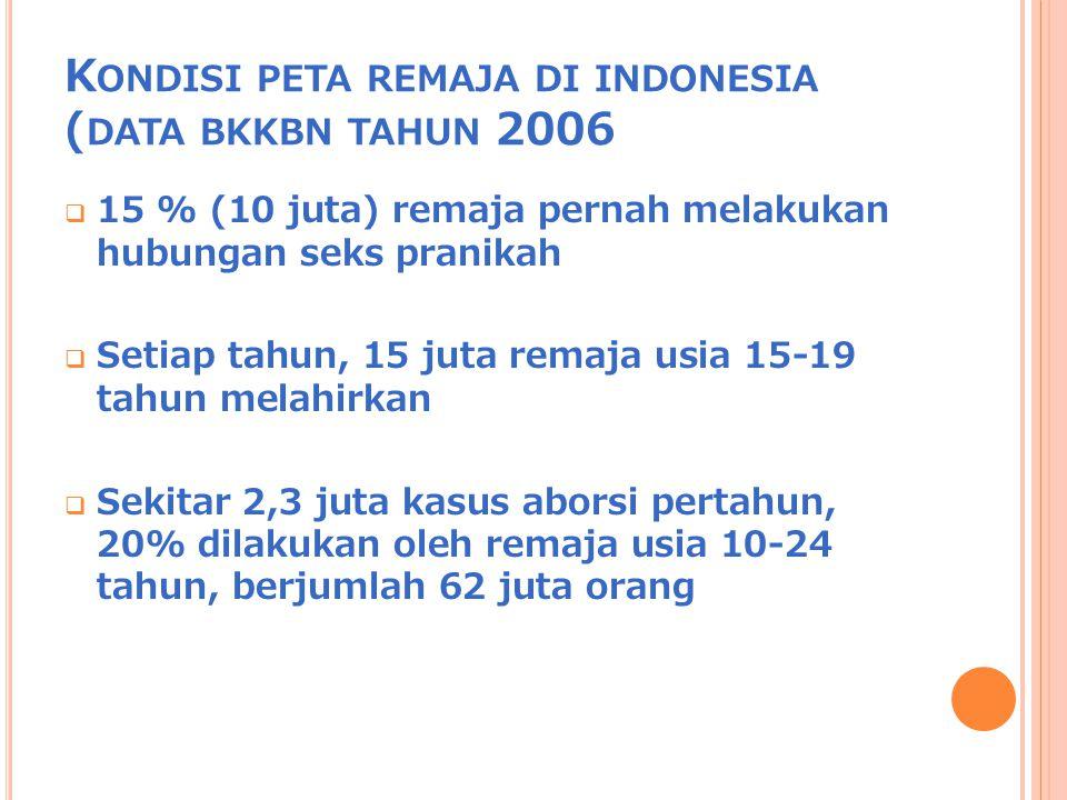 Kondisi peta remaja di indonesia (data bkkbn tahun 2006