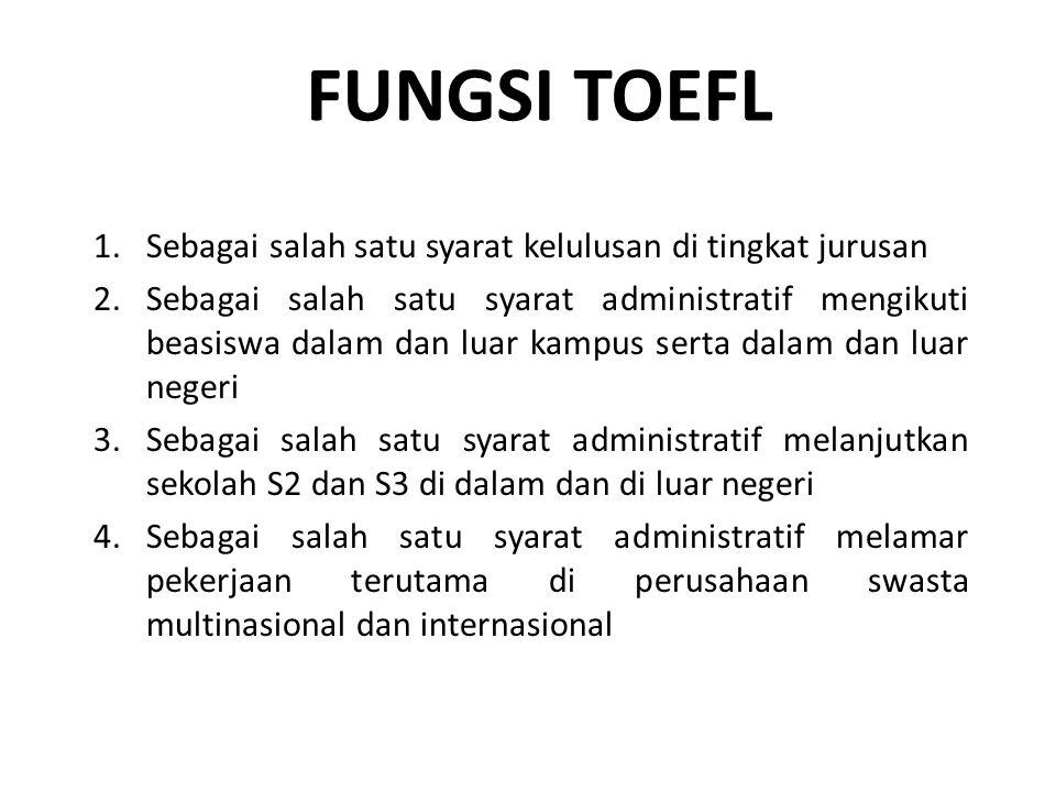 FUNGSI TOEFL Sebagai salah satu syarat kelulusan di tingkat jurusan
