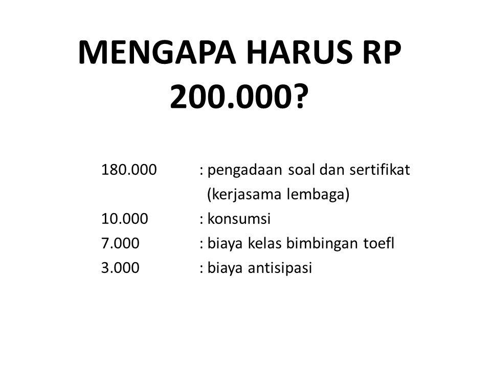 MENGAPA HARUS Rp 200.000 180.000 : pengadaan soal dan sertifikat