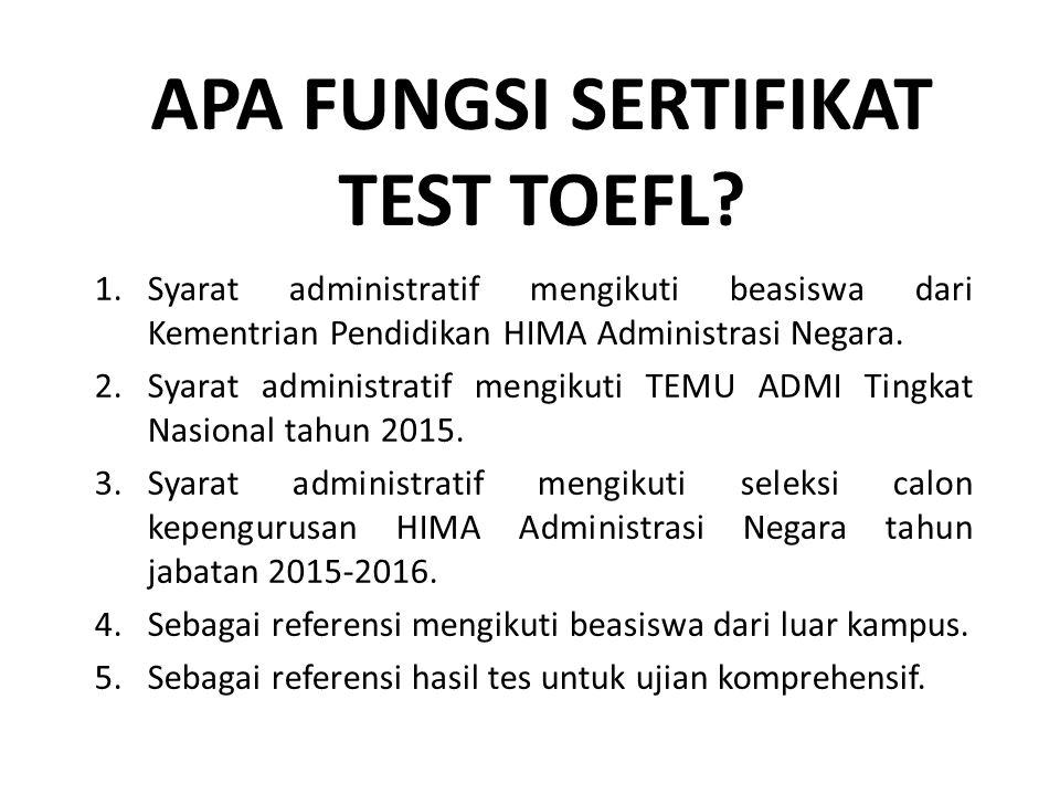 Apa fungsi sertifikat test toefl