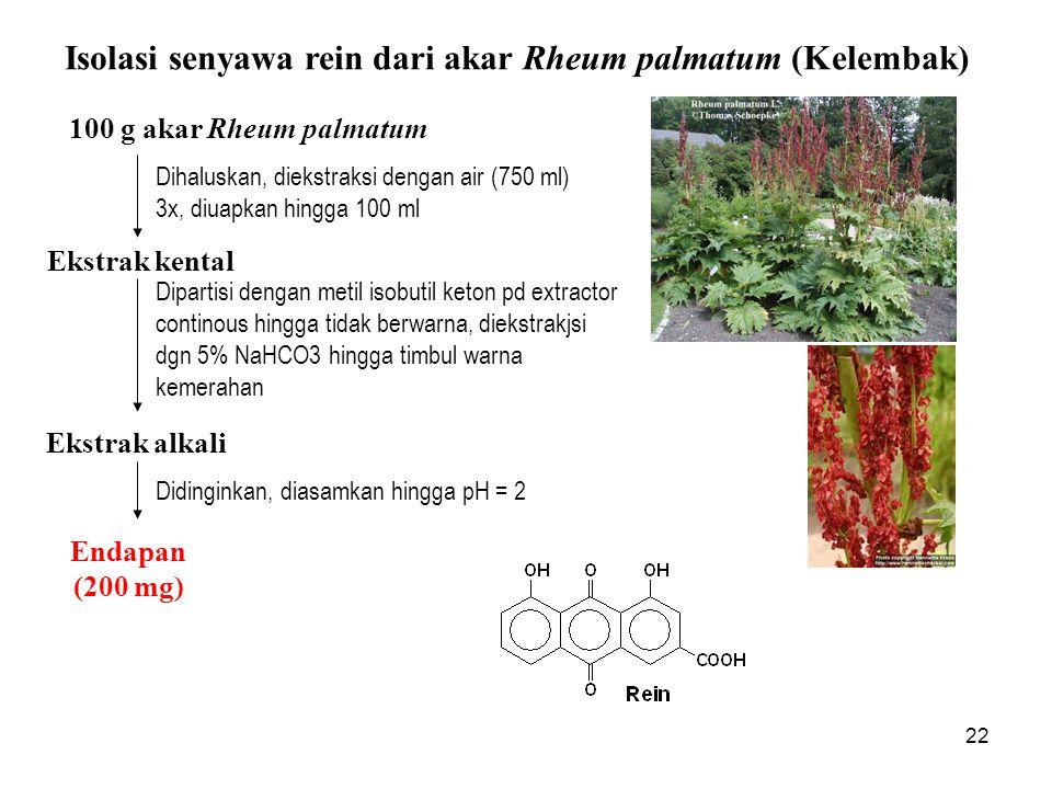 Isolasi senyawa rein dari akar Rheum palmatum (Kelembak)