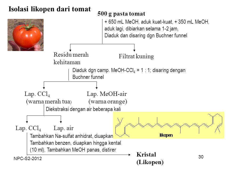 Isolasi likopen dari tomat