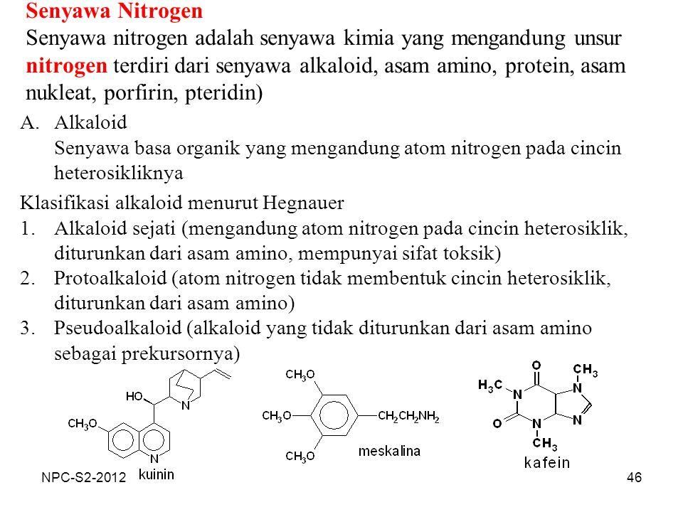 Senyawa Nitrogen Senyawa nitrogen adalah senyawa kimia yang mengandung unsur nitrogen terdiri dari senyawa alkaloid, asam amino, protein, asam nukleat, porfirin, pteridin)