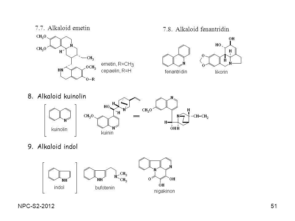7.7. Alkaloid emetin 7.8. Alkaloid fenantridin 8. Alkaloid kuinolin