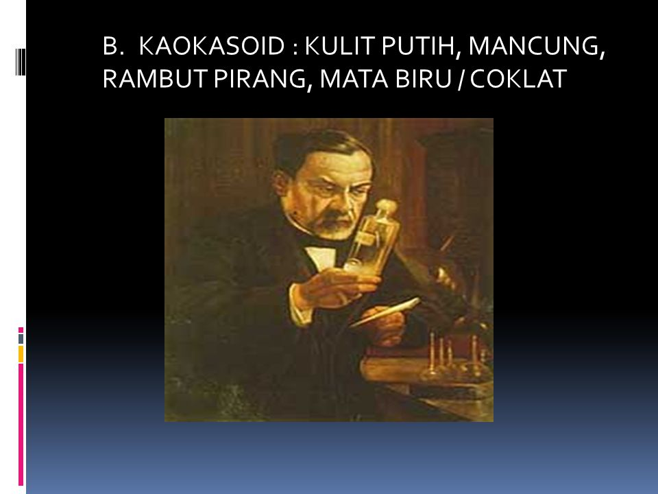B. KAOKASOID : KULIT PUTIH, MANCUNG, RAMBUT PIRANG, MATA BIRU / COKLAT