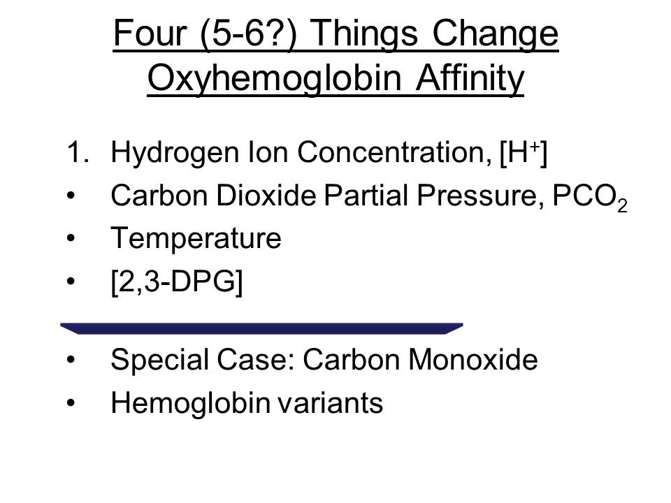 Four (5-6 ) Things Change Oxyhemoglobin Affinity