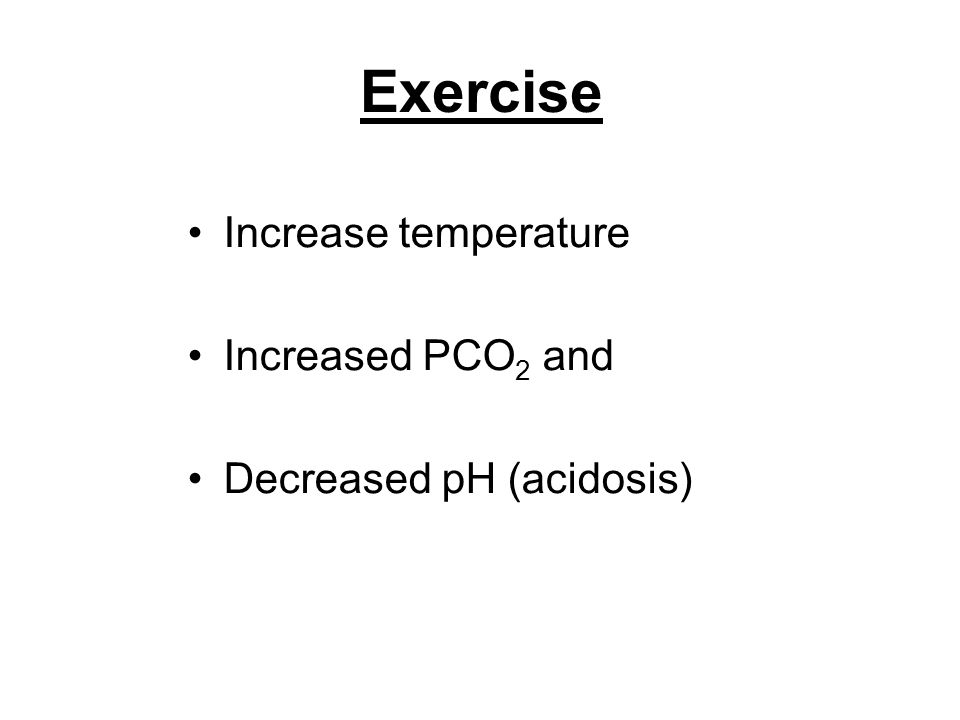 Exercise Increase temperature Increased PCO2 and