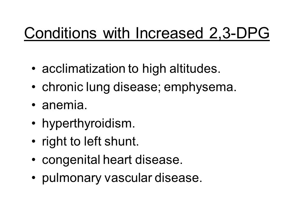 Conditions with Increased 2,3-DPG