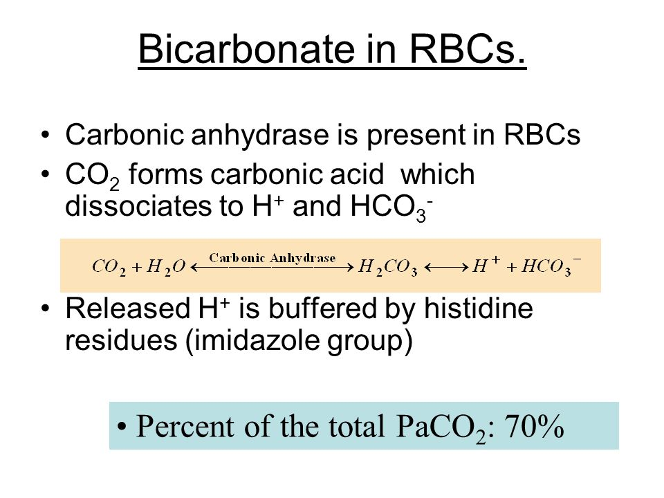 Bicarbonate in RBCs. • Percent of the total PaCO2: 70%