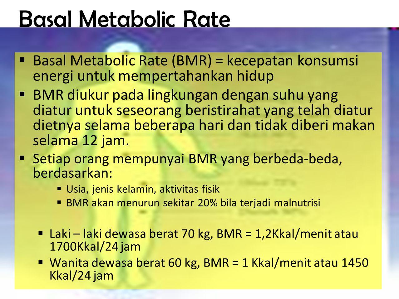 Basal Metabolic Rate Basal Metabolic Rate (BMR) = kecepatan konsumsi energi untuk mempertahankan hidup.