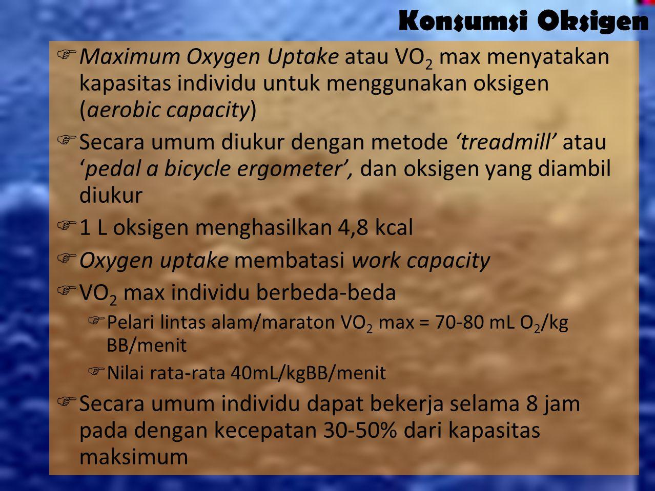 Konsumsi Oksigen Maximum Oxygen Uptake atau VO2 max menyatakan kapasitas individu untuk menggunakan oksigen (aerobic capacity)