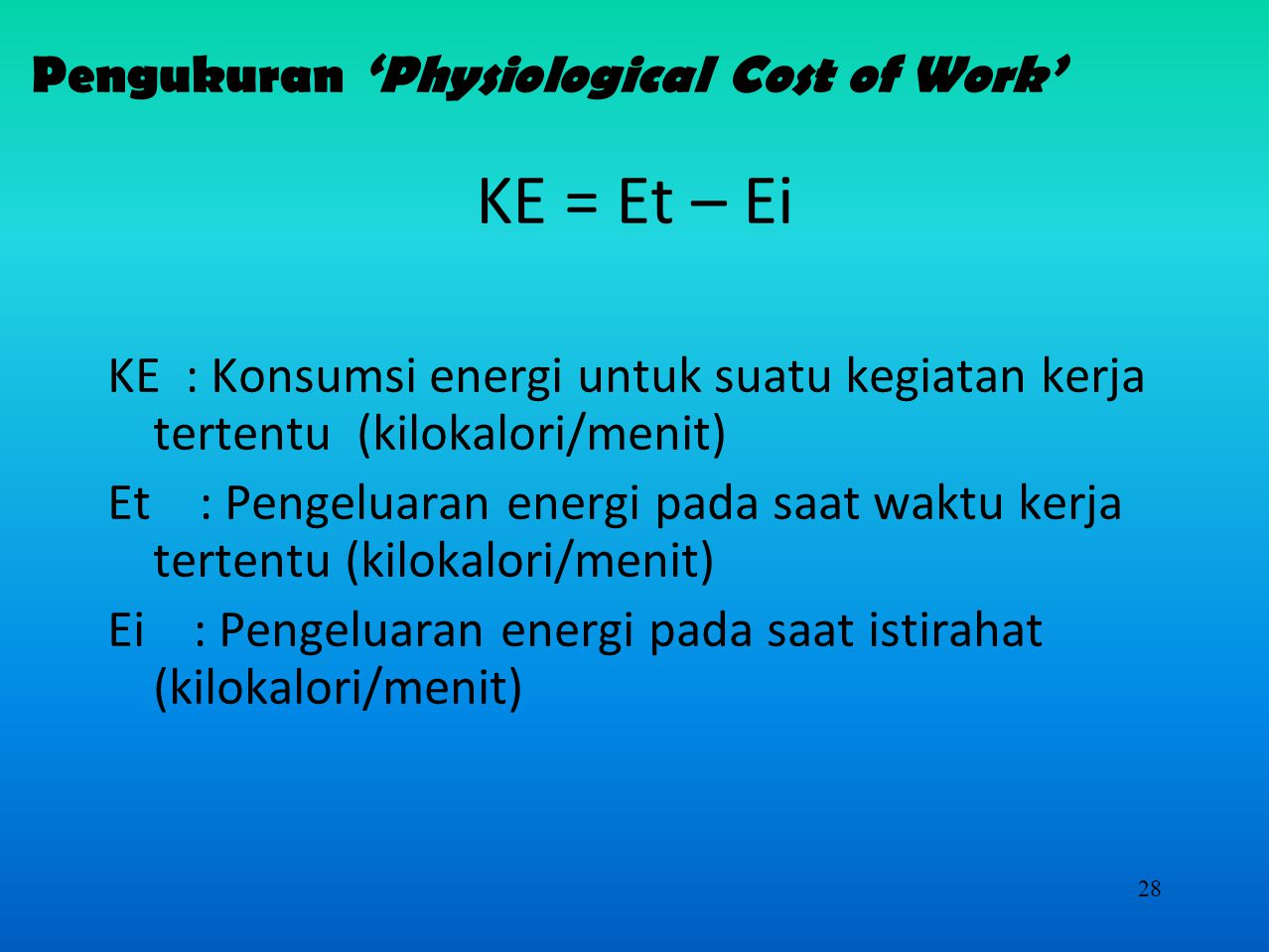 Pengukuran 'Physiological Cost of Work'