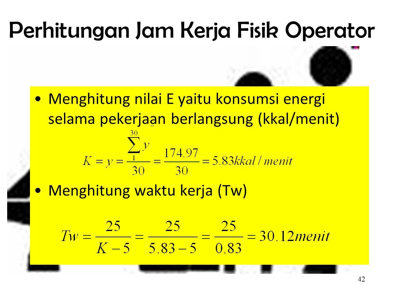 Perhitungan Jam Kerja Fisik Operator