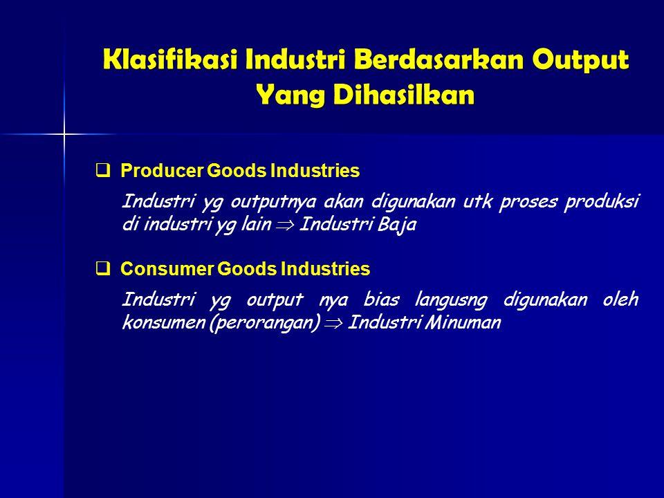 Klasifikasi Industri Berdasarkan Output Yang Dihasilkan