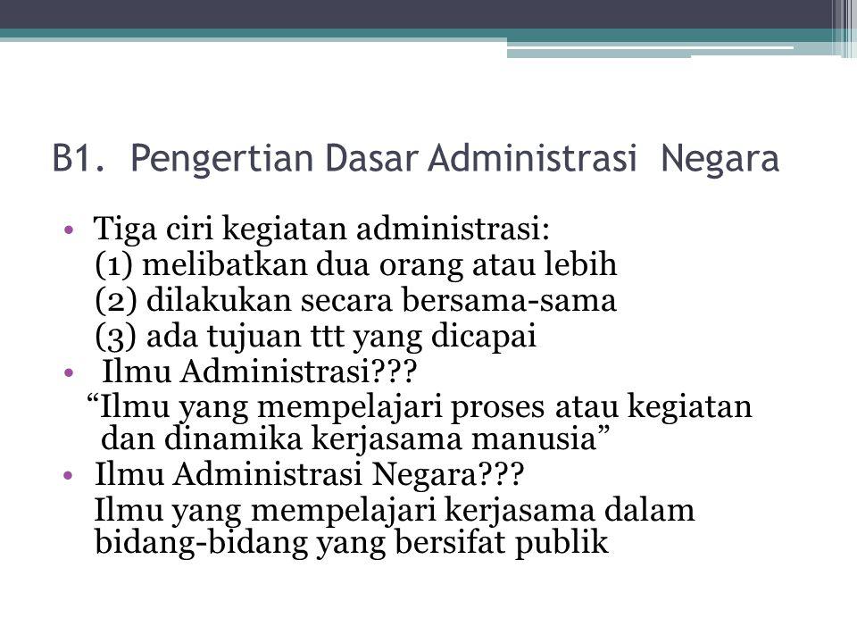 B1. Pengertian Dasar Administrasi Negara