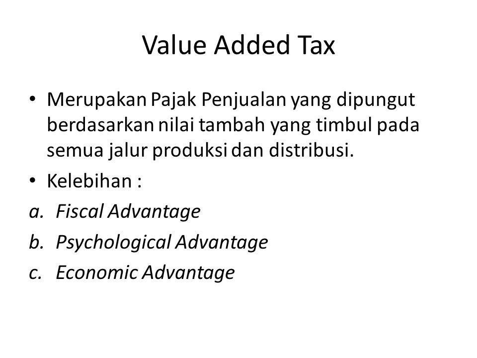 Value Added Tax Merupakan Pajak Penjualan yang dipungut berdasarkan nilai tambah yang timbul pada semua jalur produksi dan distribusi.