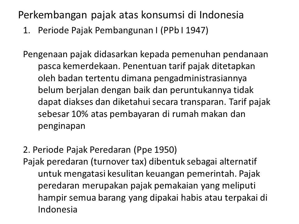 Perkembangan pajak atas konsumsi di Indonesia