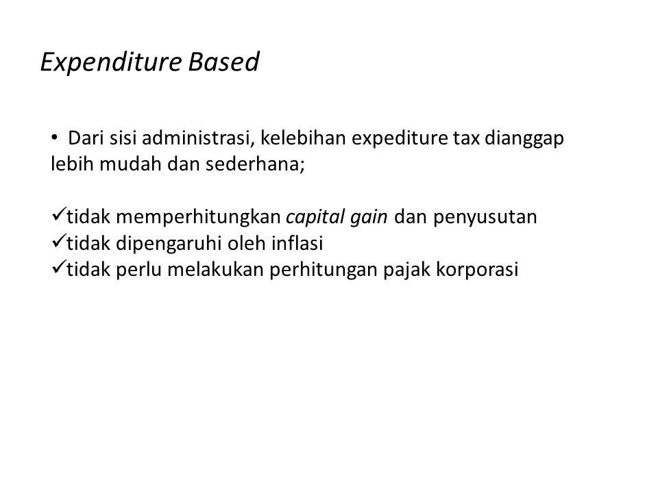 Expenditure Based Dari sisi administrasi, kelebihan expediture tax dianggap lebih mudah dan sederhana;