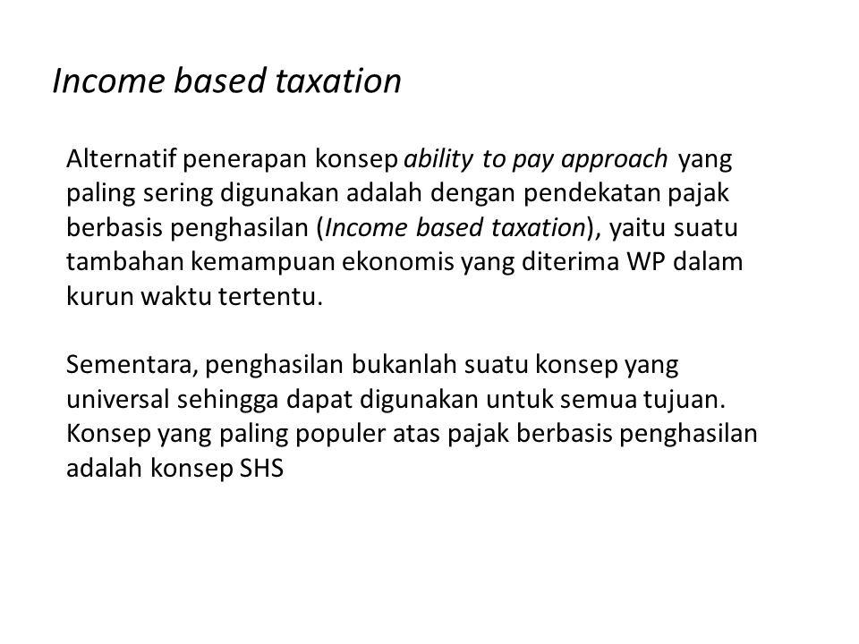 Income based taxation