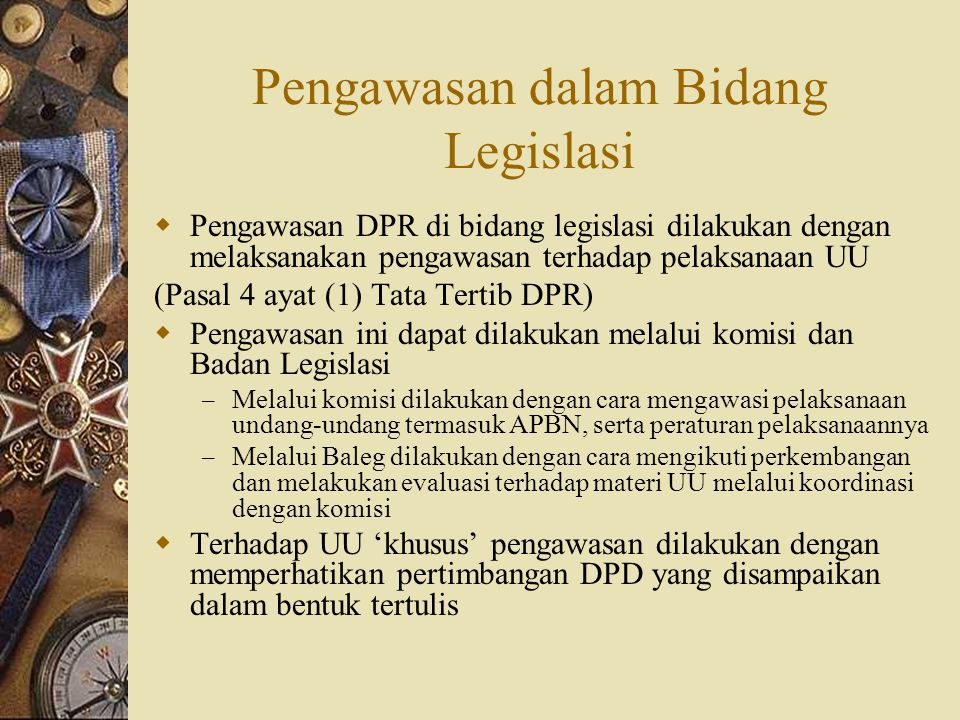 Pengawasan dalam Bidang Legislasi