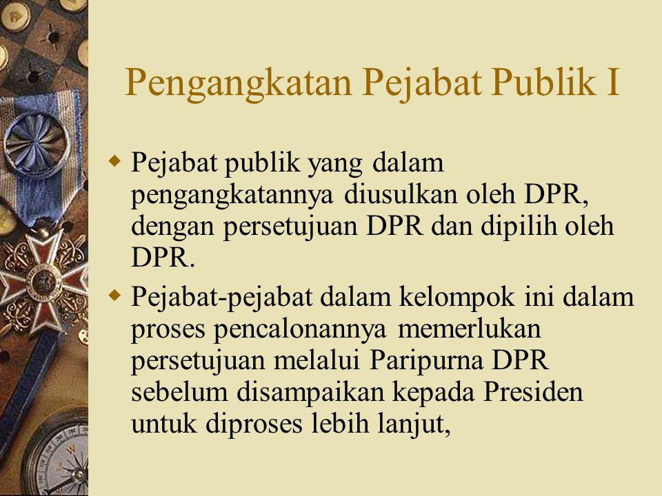 Pengangkatan Pejabat Publik I