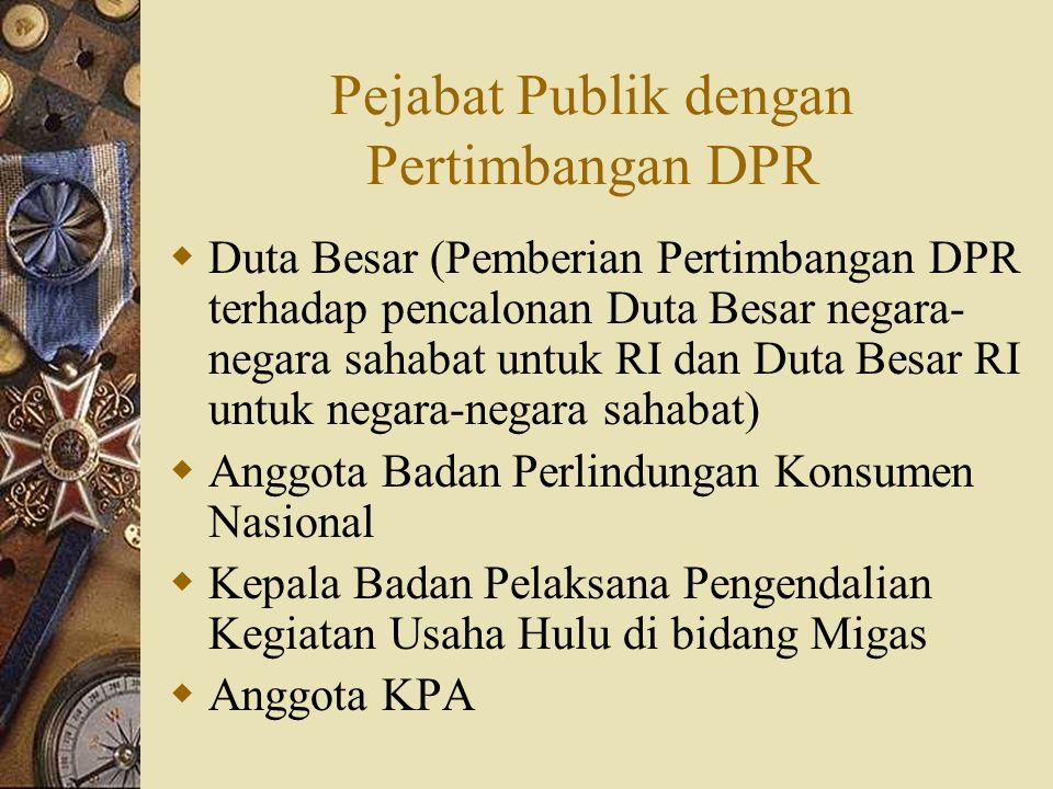 Pejabat Publik dengan Pertimbangan DPR
