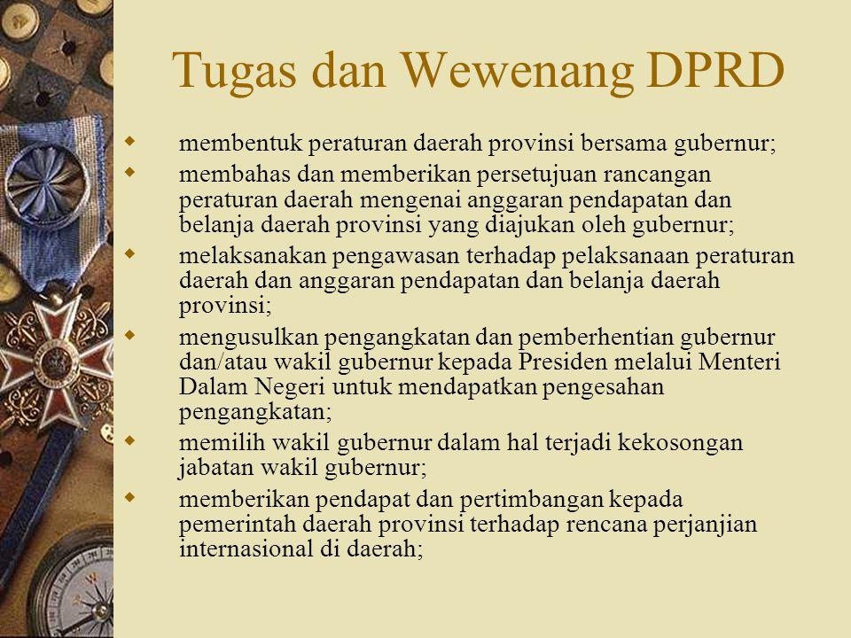 Tugas dan Wewenang DPRD