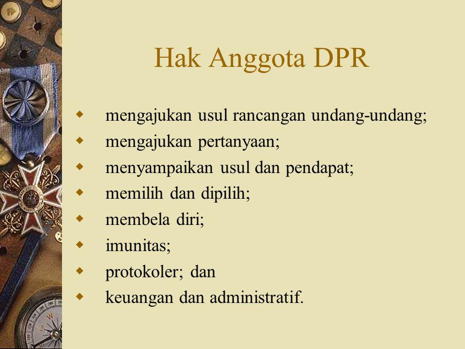 Hak Anggota DPR mengajukan usul rancangan undang-undang;