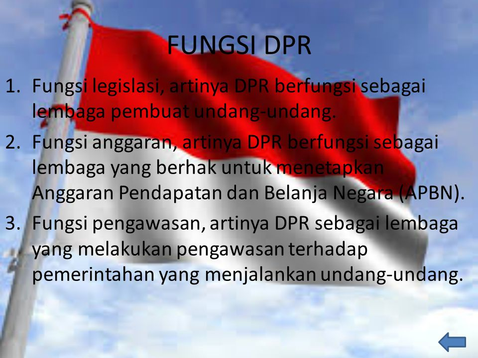 FUNGSI DPR Fungsi legislasi, artinya DPR berfungsi sebagai lembaga pembuat undang-undang.