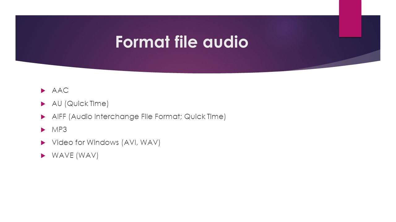 Format file audio AAC AU (Quick Time)