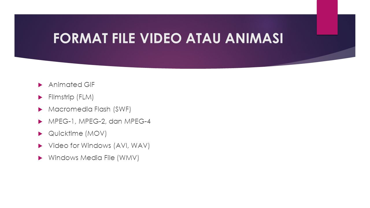 FORMAT FILE VIDEO ATAU ANIMASI