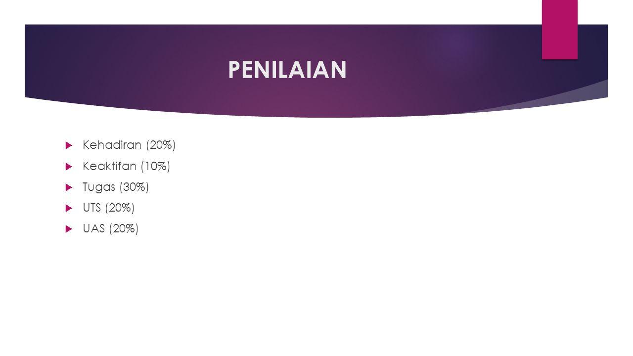 PENILAIAN Kehadiran (20%) Keaktifan (10%) Tugas (30%) UTS (20%)