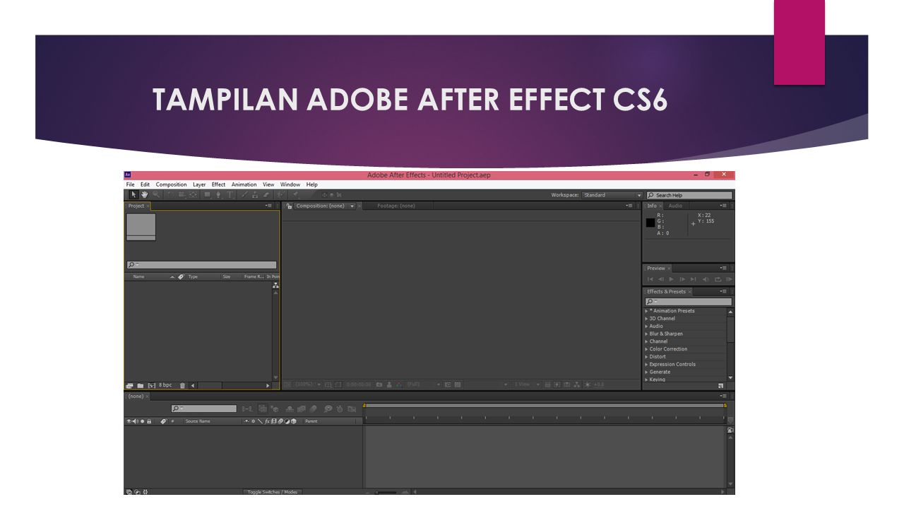 TAMPILAN ADOBE AFTER EFFECT CS6
