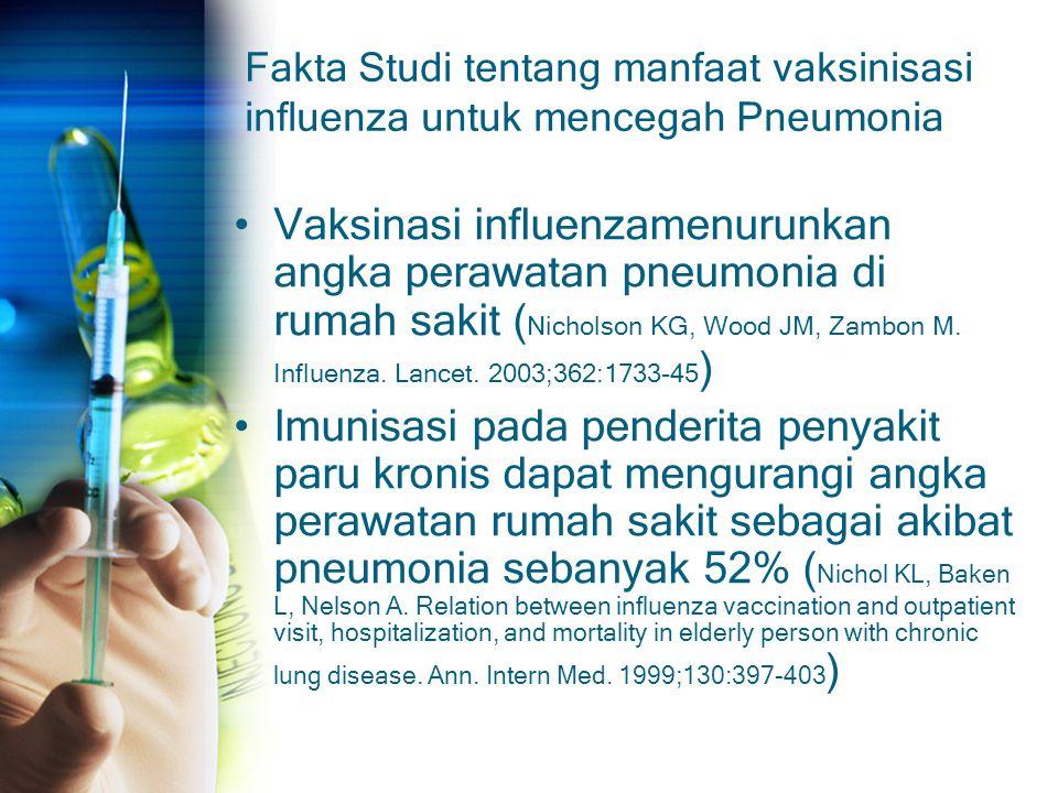 Fakta Studi tentang manfaat vaksinisasi influenza untuk mencegah Pneumonia