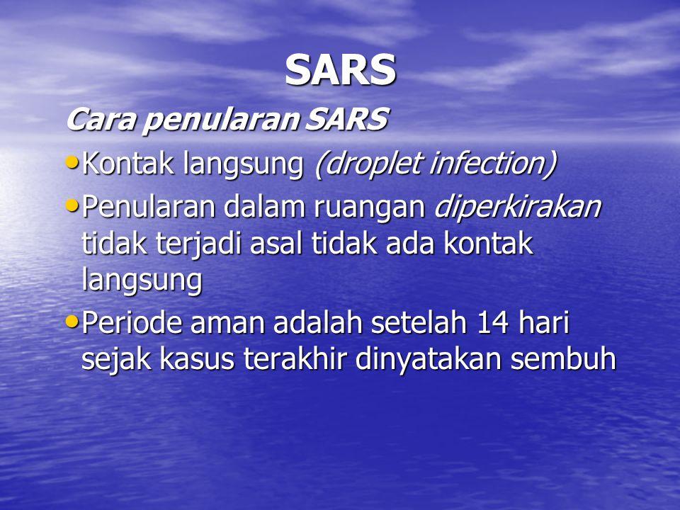 SARS Cara penularan SARS Kontak langsung (droplet infection)