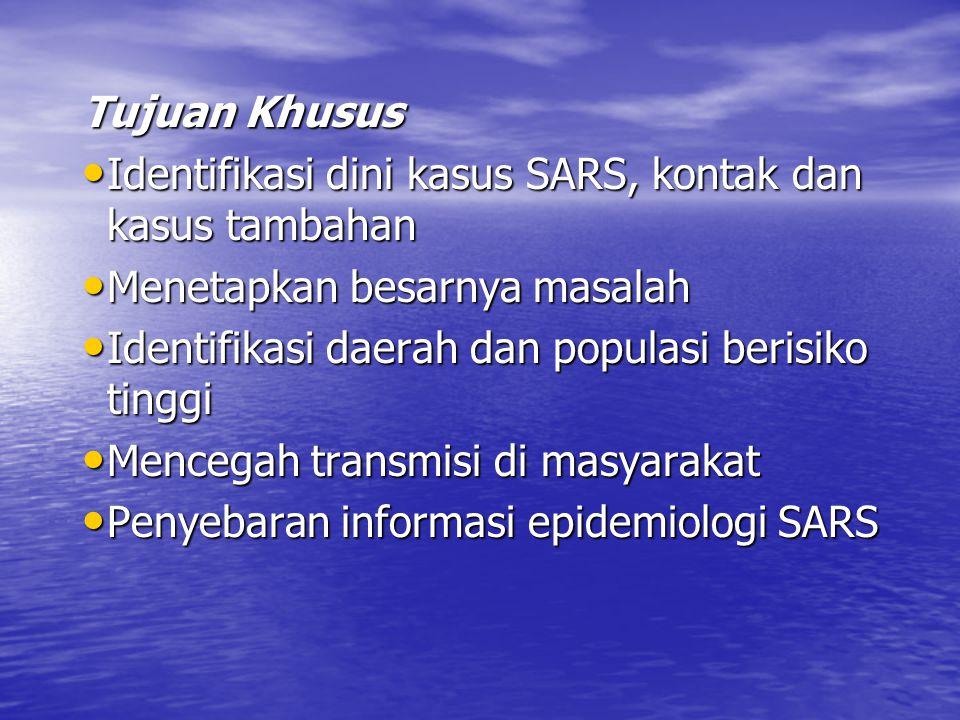 Tujuan Khusus Identifikasi dini kasus SARS, kontak dan kasus tambahan. Menetapkan besarnya masalah.