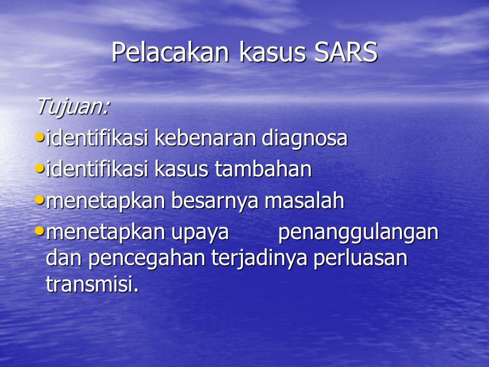 Pelacakan kasus SARS Tujuan: identifikasi kebenaran diagnosa