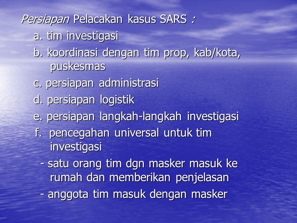 Persiapan Pelacakan kasus SARS :