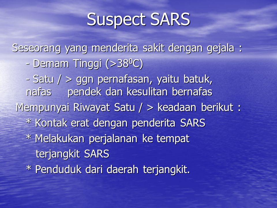 Suspect SARS Seseorang yang menderita sakit dengan gejala :