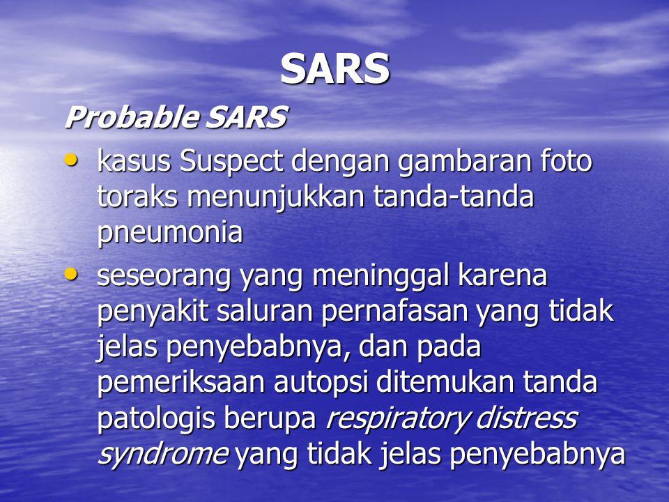 SARS Probable SARS. kasus Suspect dengan gambaran foto toraks menunjukkan tanda-tanda pneumonia.
