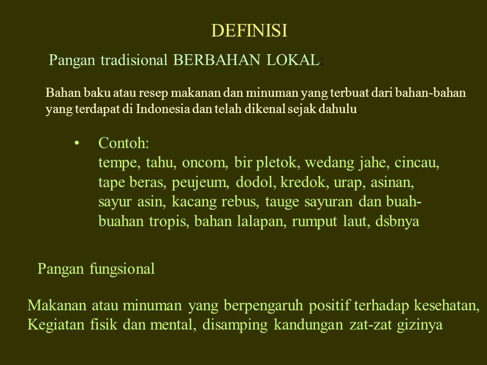 DEFINISI Pangan tradisional BERBAHAN LOKAL: Contoh: