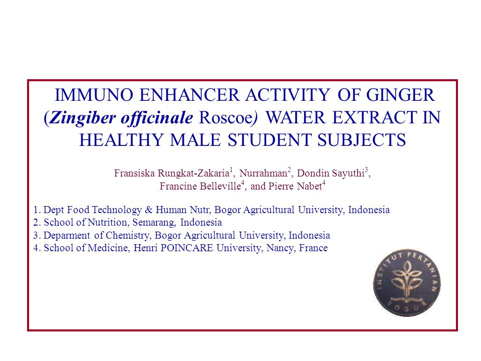IMMUNO ENHANCER ACTIVITY OF GINGER (Zingiber officinale Roscoe) WATER EXTRACT IN HEALTHY MALE STUDENT SUBJECTS