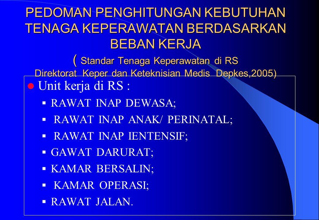 PEDOMAN PENGHITUNGAN KEBUTUHAN TENAGA KEPERAWATAN BERDASARKAN BEBAN KERJA ( Standar Tenaga Keperawatan di RS Direktorat Keper dan Keteknisian Medis Depkes,2005)